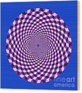 Mandala Figure Number 5 With Rhombus Steps In Black And White And Purple Wood Print