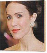 Mandy Moore Wearing Chopard Earrings Wood Print by Everett
