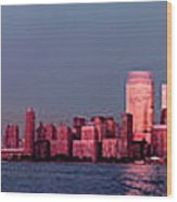 Manhattan In Pink Wood Print