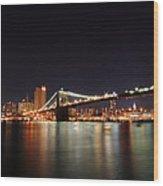 Manhattan Nightscape With Brooklyn Bridge Wood Print