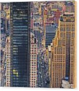 Manhattan Streets From Above Wood Print