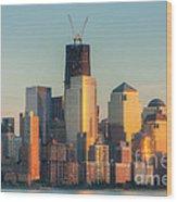 Manhattan Sunset Reflections Wood Print