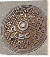 Manhole Cover In Chicago Wood Print