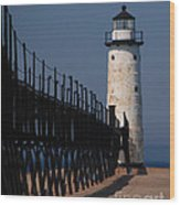 Manistee Harbor Lighthouse And Cat Walk Wood Print
