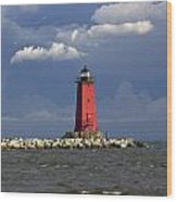 Manistique Lighthouse In Michigan's Upper Peninsula Wood Print