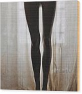 Mannequin Legs Standing By Window Wood Print