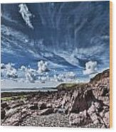 Manorbier Rocks Big Sky Wood Print