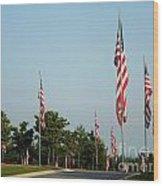 Many American Flags Wood Print