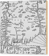 Map: Connecticut, 1661 Wood Print