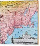 Map Of New Netherland, 1650s Wood Print