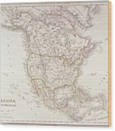 Map Of North America Wood Print by Fototeca Storica Nazionale