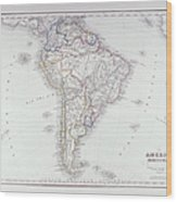 Map Of South America Wood Print