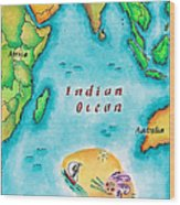 Map Of The Indian Ocean Wood Print by Jennifer Thermes