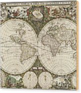 Map Of The World, 1660 Wood Print