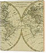 Map Of The World In Two Hemispheres Wood Print