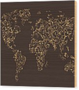 Map Of The World Map Floral Swirls Wood Print