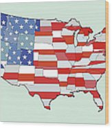 Map Of United States Of America Depicting Stars And Stripes Flag Wood Print