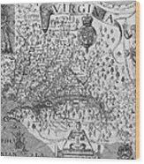 Map Of Virginia, 1624 Wood Print
