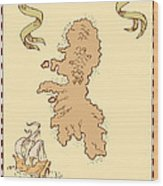 Map Treasure Island Tall Ship Wood Print
