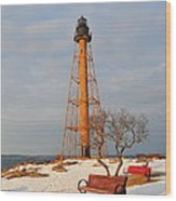 Marblehead Light Wood Print by Catherine Reusch Daley