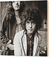 Marc Bolan T Rex 1969 Sepia Wood Print by Chris Walter