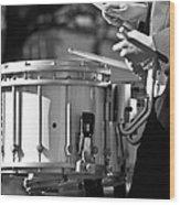 Marching Band Drummer Boy Bw Wood Print