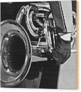 Marching Band Horn Bw Wood Print