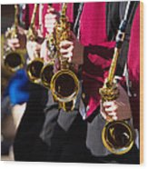 Marching Band Saxophones  Wood Print