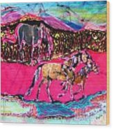 Mare And Foal Wood Print by Carol Law Conklin
