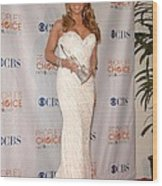 Mariah Carey Wearing A Ysa Makino Gown Wood Print by Everett