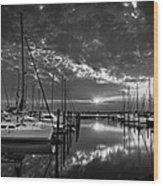 Marina At Fort Monroe Bw Wood Print