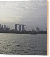 Marina Bay Sands And Flyer Along With Singapore Skyline From The Wood Print