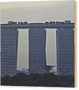 Marina Bay Sands As Seen From The Harbor Cruise Wood Print