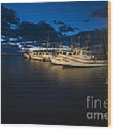 Marina With Fishing Boats Wood Print