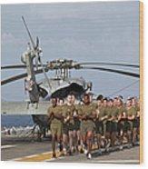 Marines And Sailors Run Aboard Uss Wood Print
