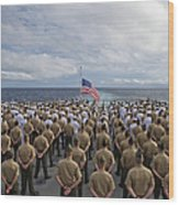 Marines And Sailors Stand In Formation Wood Print