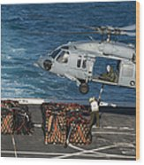 Marines Attach Cargo To An Mh-60s Sea Wood Print