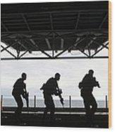 Marines Conduct Rifle Movement Drills Wood Print