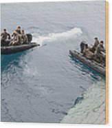Marines Depart The Well Deck Wood Print