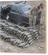 Marines Discover A Weapons Cache Wood Print by Stocktrek Images