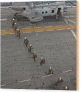 Marines Embark A Ch-46e Sea Stallion Wood Print