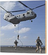 Marines Fast Rope From A Ch-46e Sea Wood Print