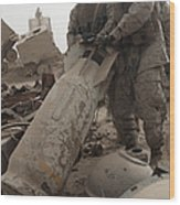 Marines Lift Up A Bomb To Determine If Wood Print