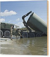 Marines Lower An Improved Ribbon Bridge Wood Print