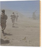 Marines Move Through A Dust Cloud Wood Print