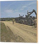 Marines Offload A Logistics Vehicle Wood Print