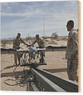Marines Place An Rq-7 Shadow Unmanned Wood Print