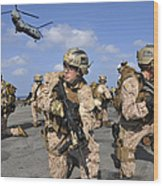 Marines Position Themselves Wood Print