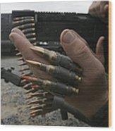 Marines Prepare The M-240g Medium Wood Print