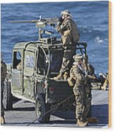 Marines Provide Security Aboard Wood Print